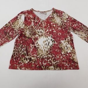 Chico's 3 Red Beige Casual Top V Neck Cotton Blend